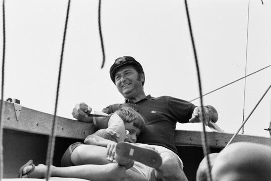 Bernard Greenhouse with grandson, Jonathan Rich, sailing in Wellfleet, Mass., circa 1970. Photo Credit: Timothy Eddy